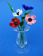 Small Coloured Glass Flowers